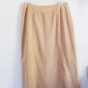 Liz Claiborne faux suede tan maxi skirt size 10
